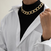 Gold Fashion Street Geometric Solid Necklaces