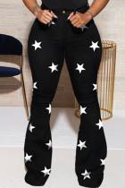 Black Casual Sweet Print The stars Buttons Pants High Waist Boot Cut Denim