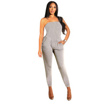 Grey Elastic Fly High Solid pencil Pants Jumpsuits & Rompers