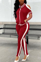 Red Polyester Casual Patchwork Solid Split Zippered Straight Long Sleeve Two Pieces