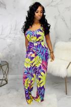 purple Fashion Sexy Patchwork Print Polyester Sleeveless V Neck Jumpsuits
