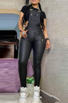 Black Fashion Sexy Adult Faux Leather Solid Split Joint Spaghetti Strap Skinny Jumpsuits