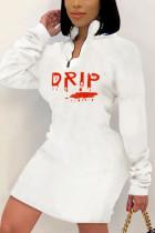 White Sexy Print POLO collar Wrapped Skirt Dresses