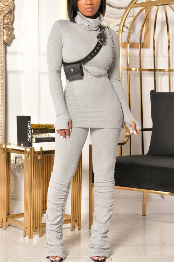 Light Gray Fashion Casual Solid Fold Turtleneck Long Sleeve Two Pieces