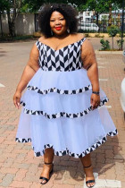 Black Spandex Sexy Fashion adult V Neck Print ruffle Patchwork Draped Geometric Pattern Plus Size Dresses