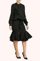 Black Fashion Long Sleeves O neck Mermaid Knee-Length ruffle Solid Two Piece Dresses