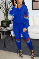 Royal blue Casual Patchwork Zipper Collar Long Sleeve Two Pieces