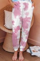 Pink Black Pink Sky Blue Powder blue Polyester Elastic Fly Mid Print Harlan pants Pants Bottoms