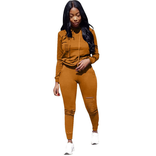Yellow Drawstring Mid Solid pencil Two-piece suit