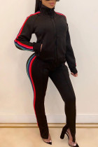 Black Casual Sportswear Polyester Cotton Blends Striped Patchwork Split Joint Slit Pants Turtleneck Long Sleeve Regular Sleeve Regular Two Pieces