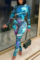 Blue Sexy Print See-through O Neck Long Sleeve Two Pieces