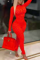 Red Sexy Solid See-through Mesh Zipper Collar Skinny Jumpsuits