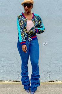 Navy Blue V Neck Slim fit Print Zippered Patchwork Polyester Print Long Sleeve Blazer & Suits &Jacket