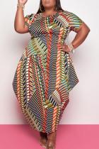 Orange Fashion Casual Print Asymmetrical O Neck Short Sleeve Dress Plus Size Dresses