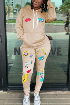 Khaki Fashion Casual Adult Polyester Print Split Joint Hooded Collar Long Sleeve Regular Sleeve Regular Two Pieces