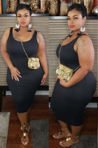 Black Sexy O Neck Solid Plus Size