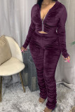 Brown Fashion Sexy Adult Pleuche Solid Fold Hooded Collar Long Sleeve Regular Sleeve Regular Two Pieces