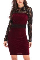 Red Fashion Long Sleeves O neck Slim Dress Mini Patchwork Long Sleeve Dresses