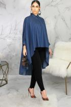 Dark Blue Polyester Fashion adult Sexy Cap Sleeve Long Sleeves Mandarin Collar Swagger Mid-Calf Solid Patchwor