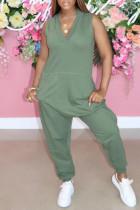 Green Fashion Casual Solid Basic V Neck Regular Jumpsuits