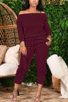 Wine Red Fashion Casual Adult Solid Split Joint Bateau Neck Long Sleeve Off The Shoulder Regular Two Pieces