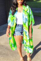 Green O Neck Patchwork Print Tie Dye Polyester Patchwork Short Sleeve Outerwear