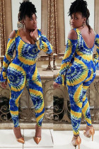 Blue Fashion Sexy Print Polyester Long Sleeve O Neck Jumpsuits