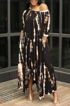 Black Brown Fashion Print Basic O Neck Irregular Dress