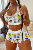 White Fashion Sexy adult Letter Patchwork Print Character Tie Dye Two Piece Suits pencil Sleeveless Two Pieces
