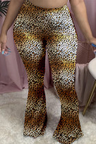 Leopard print Polyester Elastic Fly Mid Leopard camouflage Gradient Boot Cut Pants Bottoms