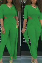 Green Elegant Polyester Solid Hollowed Out Split Joint O Neck Half Sleeve Two Pieces