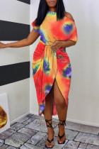 Purple Fashion Casual Print Tie Dye Asymmetrical Oblique Collar Short Sleeve Dress