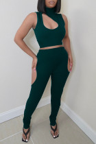 Green Sexy Casual Solid Hollowed Out Turtleneck Sleeveless Two Pieces