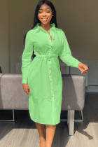 Green Polyester Casual Shirt sleeves Long Sleeves Notched Step Skirt Mid-Calf Patchwork Solid