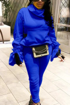 Blue Sexy Solid Split Joint Turtleneck Long Sleeve Two Pieces