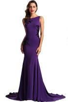 purple Polyester Celebrities Tank Sleeveless O neck Step Skirt Floor-Length Solid