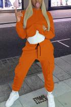 Orange Fashion Sportswear Adult Polyester Solid Split Joint Pocket Hooded Collar Long Sleeve Regular Sleeve Regular Two Pieces
