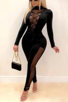 Black Sexy Solid Split Joint O Neck Regular Jumpsuits
