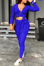 Blue Casual Polyester Knitting Patchwork Solid Split Joint Pullovers Pants Knotted V Neck Long Sleeve Regular Sleeve Short Two Pieces