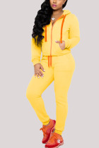 Yellow Sexy Casual Polyester Cotton Blends Solid Draw String Pocket Hooded Collar Long Sleeve Regular Sleeve Regular Two Pieces