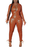 Orange Fashion Casual Adult Faux Leather Solid Draw String Turndown Collar Long Sleeve Regular Sleeve Regular Two Pieces