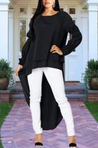 Black Celebrities Bubble sleeves Long Sleeves O neck Asymmetrical Mid-Calf Solid asymmetrical Dresses