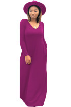 purple Sexy Fashion Cap Sleeve Long Sleeves O neck Asymmetrical Floor-Length asymmetrical Patchwork Long S