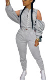 Grey Fashion Sexy Adult Polyester Solid Bandage Split Joint O Neck Long Sleeve Cold Shoulder Regular Two Pieces