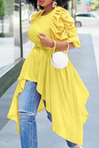 Yellow Casual Solid Fold O Neck Tops