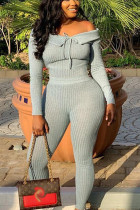 Grey Sexy Polyester Solid Bateau Neck Plus Size