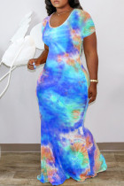 Blue Fashion Casual Print Hollowed Out Tie-dye O Neck Short Sleeve Dress