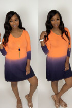 Orange Polyester Sexy Cap Sleeve Long Sleeves O neck Straight Knee-Length Print Long Sleeve Dresses