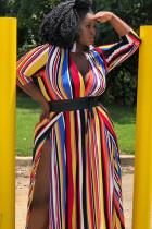 Stripe Polyester Fashion adult Sexy V Neck Striped Stripe