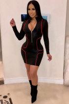 Black Sexy Fashion Cap Sleeve Long Sleeves Mandarin Collar Pencil Dress skirt chain Patchwork Print Club